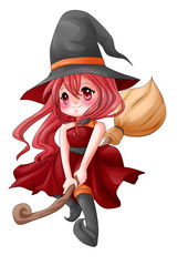 Cartoon illustration of a cute witch flying on her broom