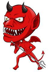 Cartoon illustration of a red devil
