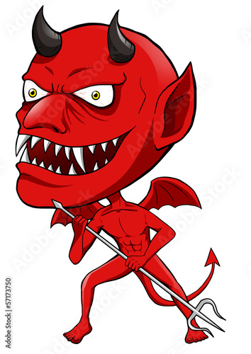 Cartoon illustration of a red devil