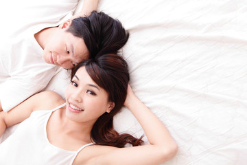 young lovely couple smile