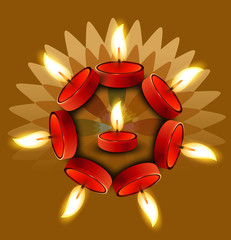 Beautiful Diwali colorful Oil Lamp vector design
