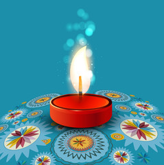 Beautiful rangoli Diya colorful creative background vector