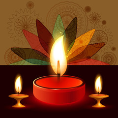 Diya Beautiful illuminating colorful diwali background vector