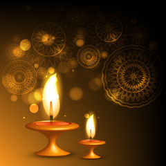 Beautiful illuminating oil lamp diwali background design illustr