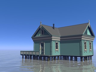 house and ocean