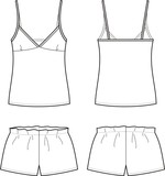 Vector illustration of women's sleepwear. Singlet and shorts