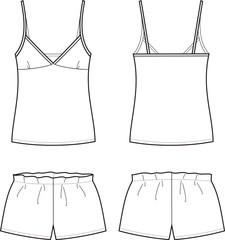 Vector illustration of women's sleepwear. Singlet and shorts