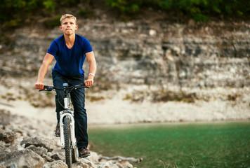Extreme biking in mountain