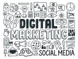 Digital marketing doodle elements set