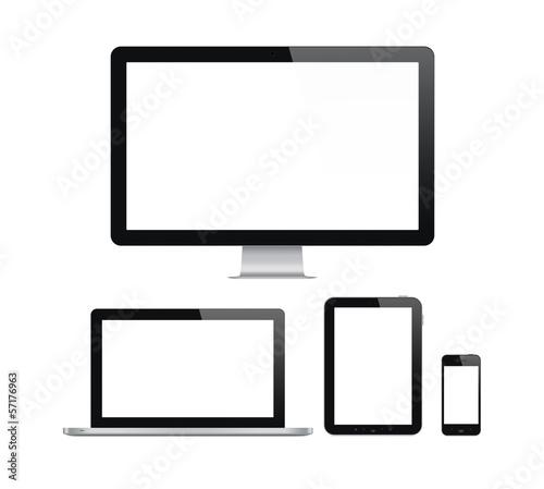 Leinwanddruck Bild Modern computer and mobile devices set