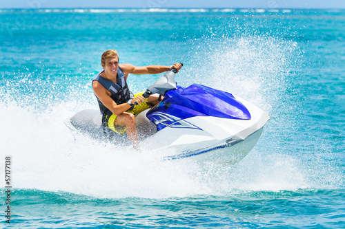 Canvas Extreme Sporten Young Man on Jet Ski