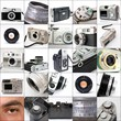 colage of vintage cameras with human eye
