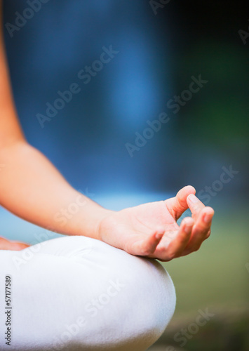 Close up View of Woman in Lotus Position