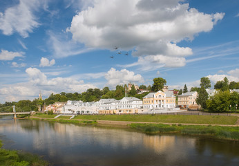 City Torzhok, Tver region. View of the city and river Tvertsa