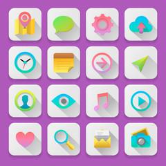 Set flat icons, for webdesign, vector Eps10 illustration.