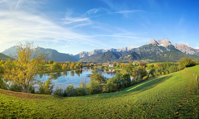 Panorama view over Saalfelden, Austria