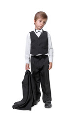 little boy in a tuxedo, isolate on white background