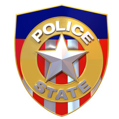 3d rendered police state badge