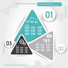 turquoise triangular infographic template with buttons