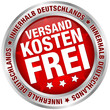 """Button """"Versandkostenfrei innerhalb Deutschlands"""" rot/silber"""
