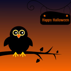 Happy halloween background with cute owl