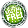"""Button """"Versandkostenfrei innerhalb Deutschlands"""" grün/silber"""