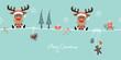 2 Sitting Christmas Reindeers Gift & Symbols Retro