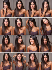 Collage of beautiful woman portrait with different expressions