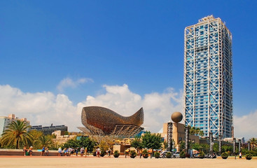 BARCELONA, SPAIN - AUGUST 12: Hotel Arts and Mapfre Tower and Pe