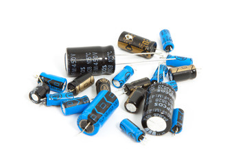 capacitors on white background