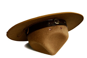 brown brim hat (hat of scout) isolated on white background