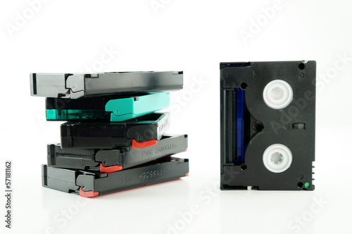 old VHS video cassettes isolated on white with clipping path
