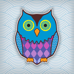 cute motley owl on a waved background
