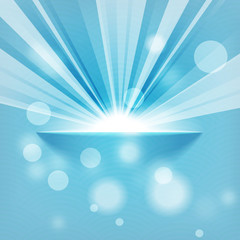 sun on blue background with copy space