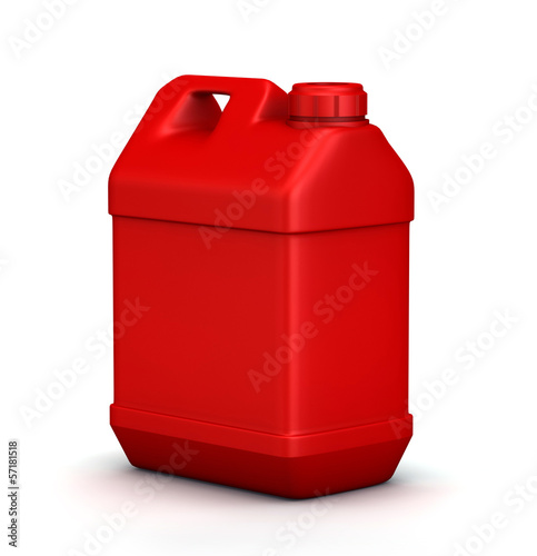 Red jerrycan isolated on a white background