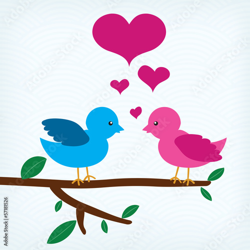 Pair of birds in love sitting on a tree branch