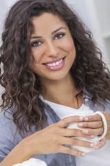 Hispanic Woman Smiling Drinking Tea or Coffee Happy Beautiful