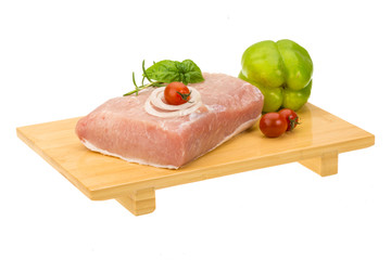 Raw pork with onion, basil and rosemary