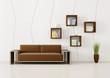 Interior of room with brown sofa 3d render