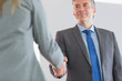 Happy businessman shaking a hand