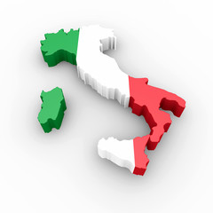 Cartina Italia 3d bandiera italiana