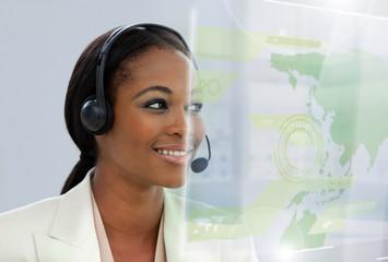 Content pretty businesswoman using futuristic interface hologram