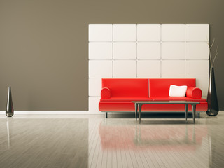 room with a red sofa