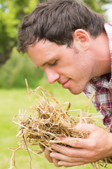 Young man smelling yellow straw