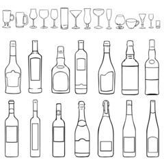 vector line art set - bottles and stemware