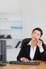Portrait of a secretary thinking