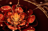 fractal flower with red petals and golden details