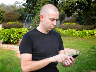 Man using a smart phone