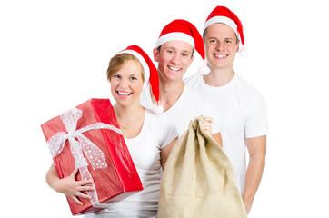 glückliche jugendliche an weihnachten