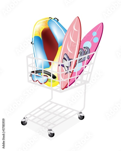 Inflatable Boat and Surfboards in Shopping Cart